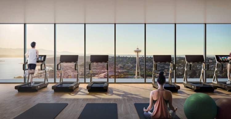 An entire floor at First Light is devoted to an aerobic and weights room.