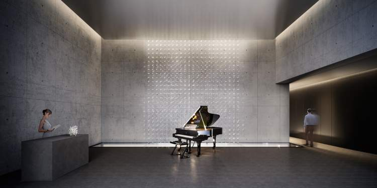 First Light's lobby features a custom Fazioli piano designed by local glass artist, John Hogan.