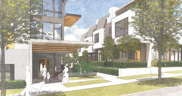 View of lobby entrance, breezeway, and townhomes coming soon to the Cambie Corridor from Aragon Properties.