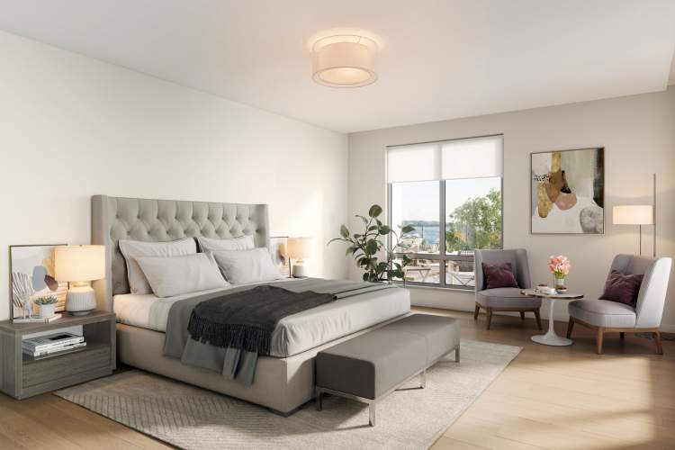 Elegant master bedrooms with spacious walk-in closets.