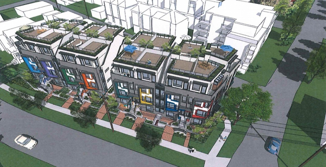 Artist concept of stacked townhome development at Columbia and West 63rd Avenue on the West Side of Vancouver.