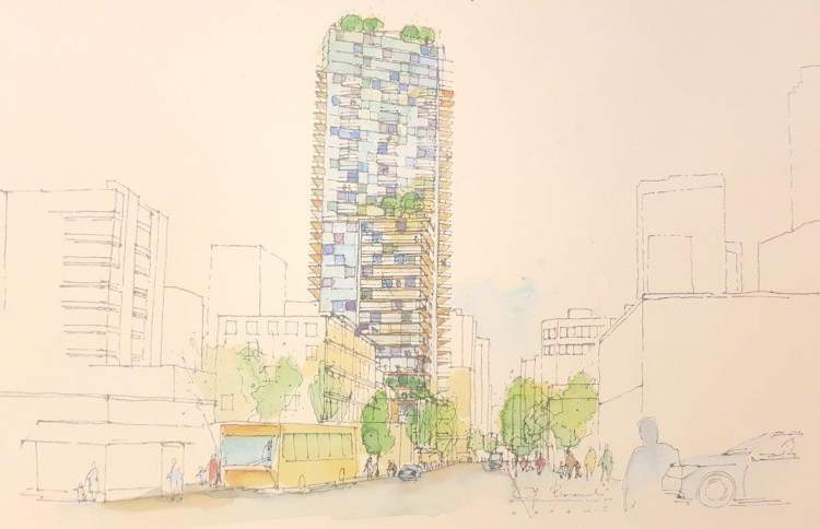Design proposal for a 47-storey mixed-use tower at the gateway to Davie Village.