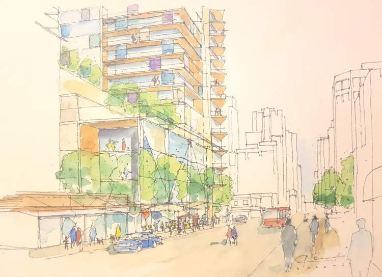 Artist concept of 1157 Burrard Street looking east from the street level along Davie Street.
