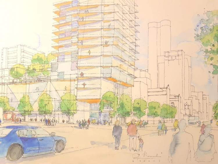 Artist concept of 1157 Burrard Street as seen at street level from the southeast corner of Davie &Burrard.