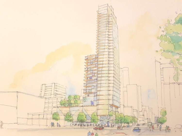 Artist concept of 1157 Burrard Street as seen from Burrard Street looking north.