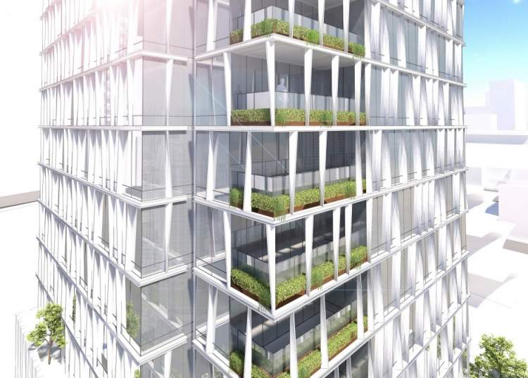 The use of green doesn't stop at adorning the terraces and podium planters, but becomes a major design element of the tower facade.