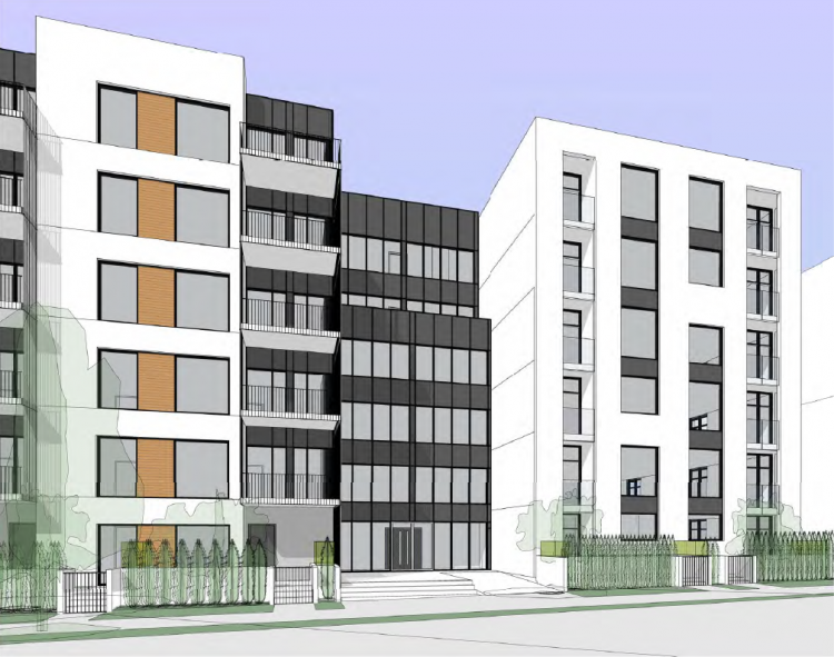 Entry to East Broadway presale condos designed by Taylor Kurtz Architecture and Design.