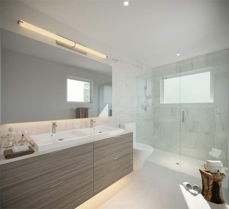 Get ready for your day and unwind at night in a bright and roomy bathroom complete with every luxury.