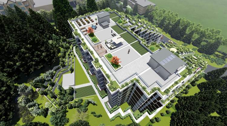 Rendering of 3000 Henry development rooftop amenities in Port Moody