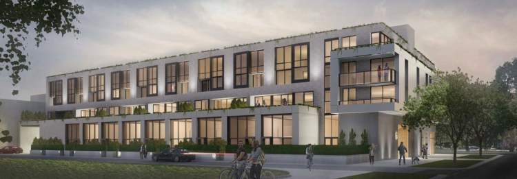 Architect rendering of 6020 East Boulevard showing the laneway view with townhouses and parkade access.