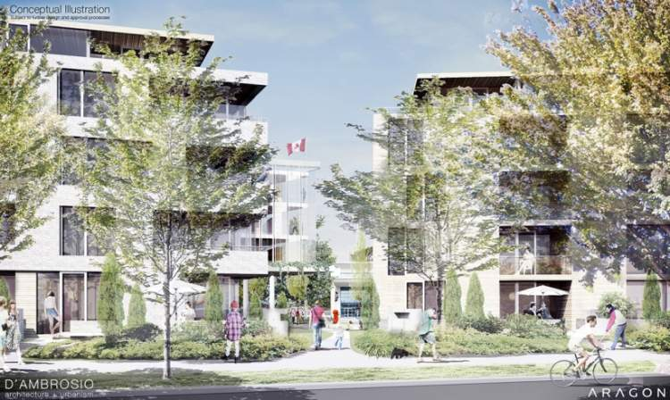 Artist rendering of Esquimalt Town Square's two market residential buildings.