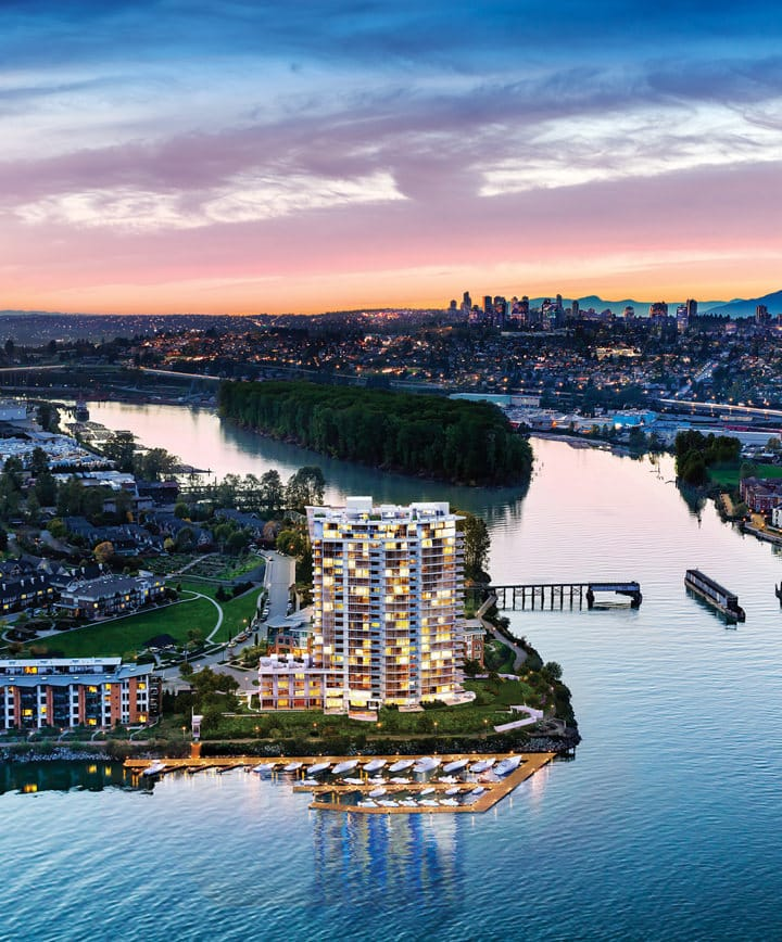 A 52-acre community, Port Royal is a significant fixture on the New Westminster landscape. The incomparable views of the river and mountains with the historical City of New Westminster in the foreground add to this rare waterfront setting.
