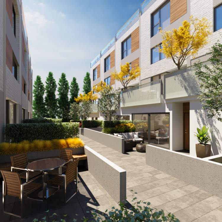 Every townhome feels like a home at The Morrison. Each unit is carefully crafted and features varying different scales with beautiful, generous outdoor spaces that are directly connected to the main living space.