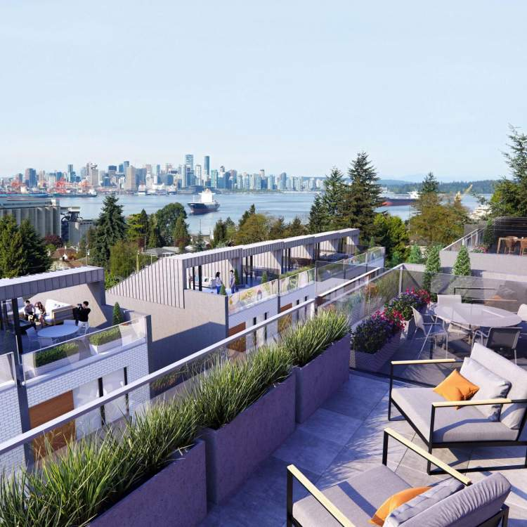 Several homes at The Morrison that feature modern rooftop decks built for entertaining and spectacular views.