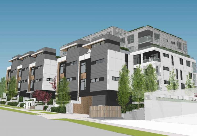 Artist rendering of townhomes as seen from the southern elevation on Clive Avenue.