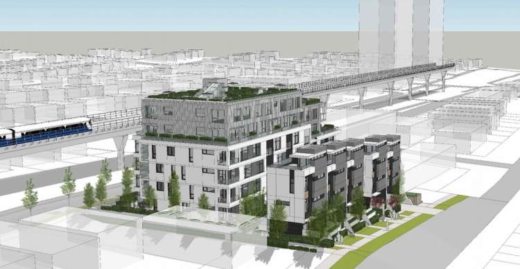 Artist rendering of residential development proposal by Nexst Properties and dys architecture.