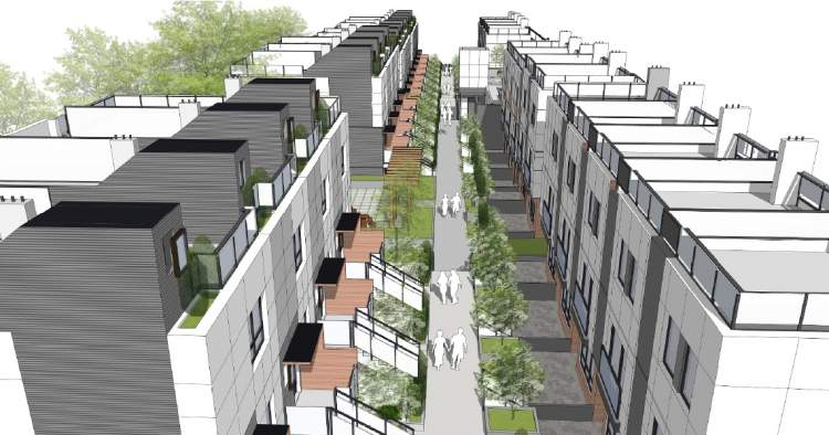 Bird's eye view of the courtyard envisioned for the townhomes at 528-592 West 28th Avenue, Vancouver.