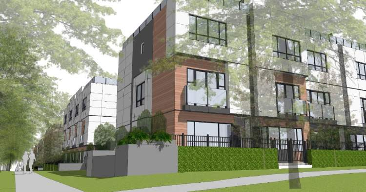 Stacked townhomes proposed by Intergulf for the Cambie Corridor at West 28th & Ash Street.