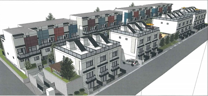 Birdseye view of townhomes at 535 West 29th Avenue looking west from the lane.