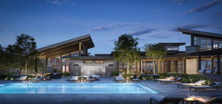A 22,000 sq ft beach resort-inspired clubhouse with a large outdoor swimming pool.