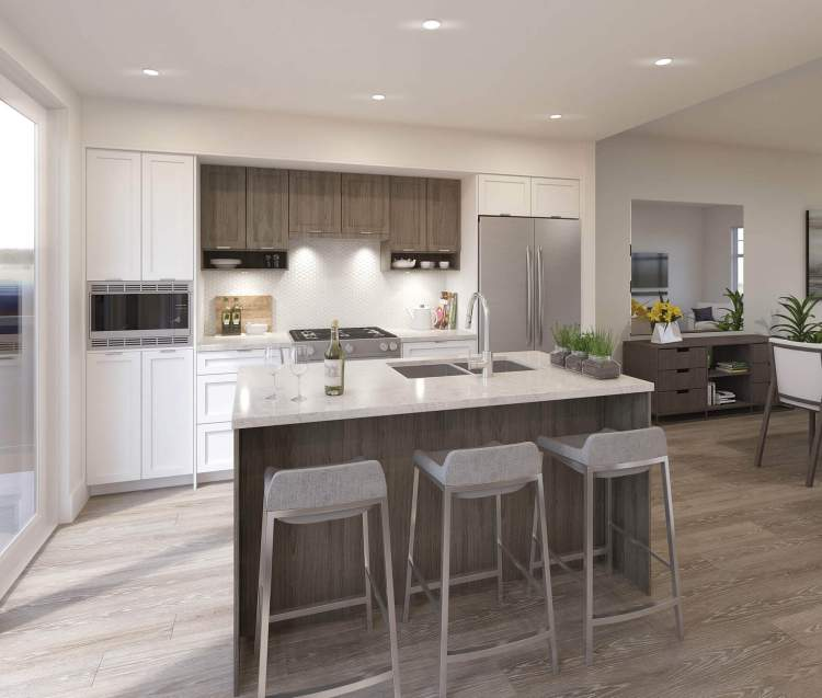 . Kitchens feature high-end stainless steel appliances and a gas cooktop.
