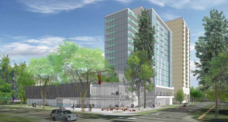 Artist's concept of Langara Family YMCA viewed from the street at the corner of Alberta and West 49th Avenue.