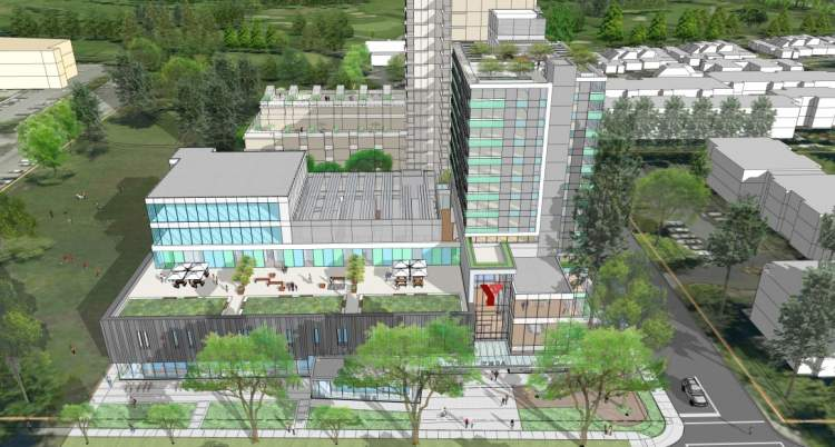 Artist's concept of the Langara Family YMCA showing an aerial view of the northern elevation.
