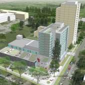 Aerial view of Langara Family YMCA redevelopment designed by Endall Elliot Associates.