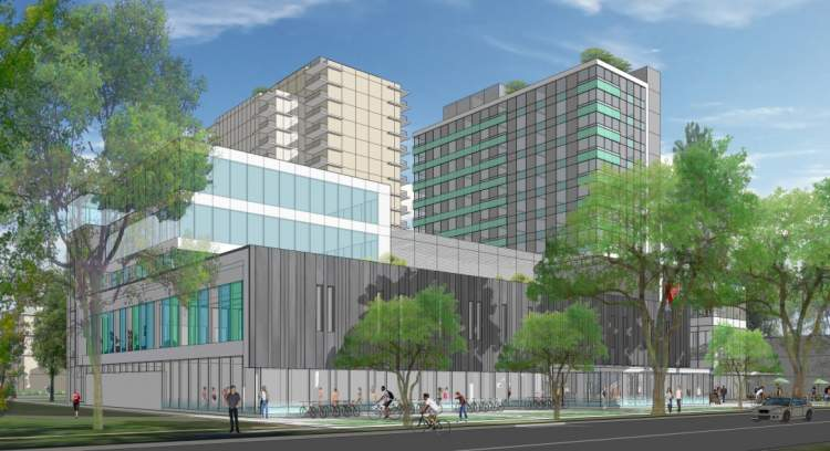 Artist's concept of Langara Family YMCA viewed from the street at the northeast corner of the site on West 49th Avenue.