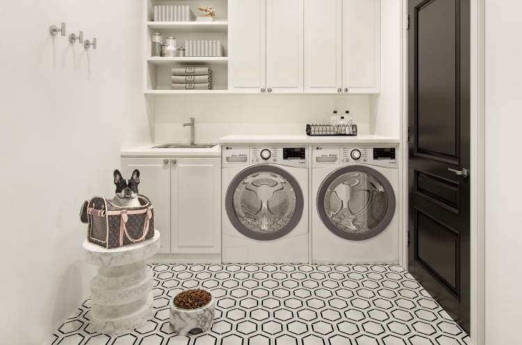 Household chores are discretely allocated to the laundry room, where clothes can be cleaned and organized without cluttering your living space.