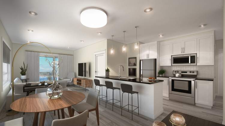 The Gabriola has stained alder cabinetry and the Newcastle has painted white cabinetry, both with brushed nickel hardware.