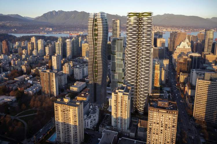 New Downtown Vancouver residential tower designed by WKK Architects and IBI Group.