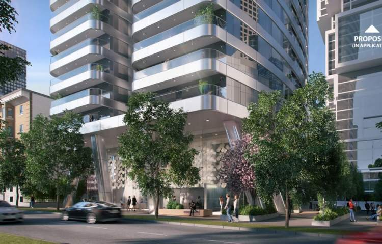 Street view of proposed residential tower opposite Nelson Park in Vancouver's West End.