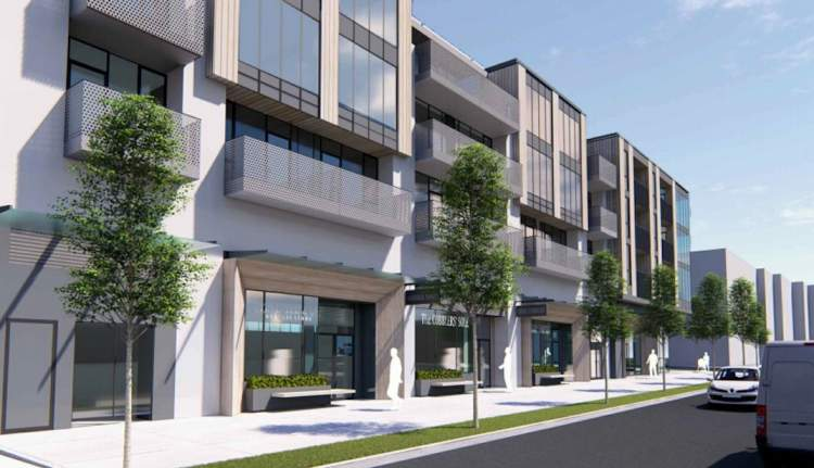 Artist rendering of East Broadway street view showing three levels of residential suites above ground floor retail shops.