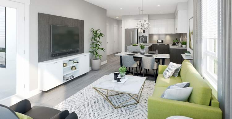 Your living space is sleek and comfortable, featuring designer colours and attention to detail.
