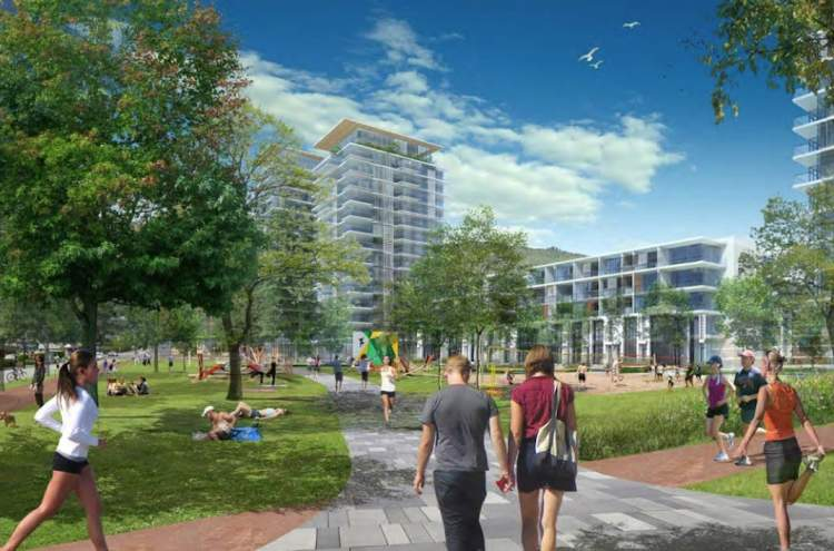 Artist's concept of Harry Jerome Neighbourhood Lands as seen from the corner of Lonsdale Avenue and 21st Street.