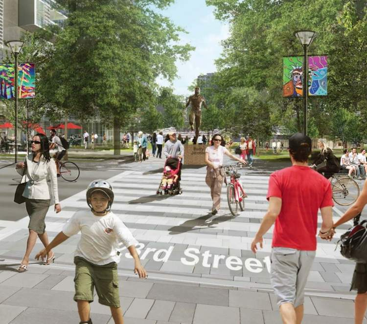 Artist's concept of new park looking south towards the corner of 23rd Street and Lonsdale Avenue.