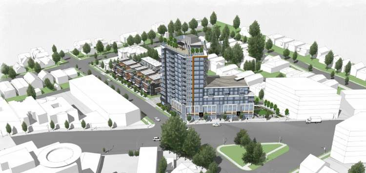 Birdseye perspective of Cressey's proposed mixed-use development for the former Rona site at 1503 Kingsway.