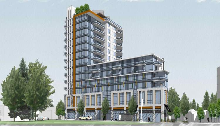 Artist rendering of tower at 1503 Kingsway, as seen from Fleming Street.