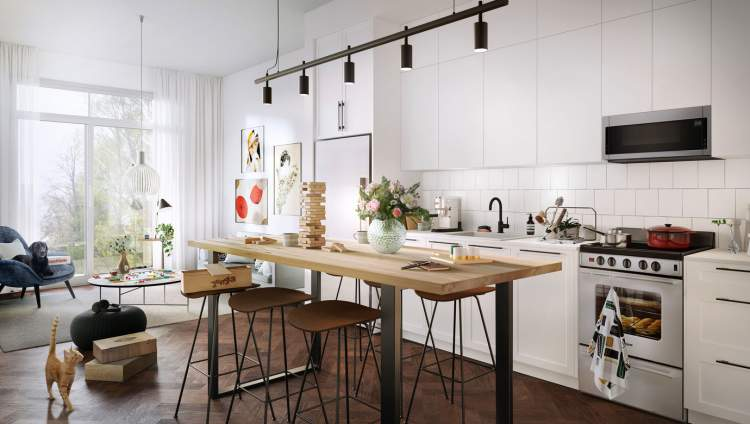 Contemporary take on Shaker kitchens and Scandinavian design.