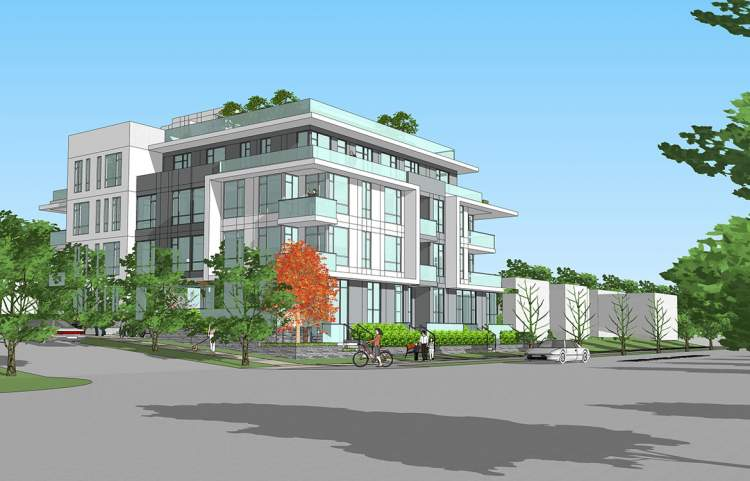 Southwest view of new condominium proposed by Benest Homes.
