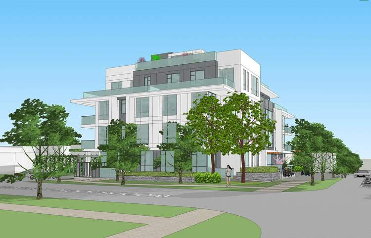 Artist rendering of a new condominium designed by GUD Group, as seen from Columbia & Woodstock.