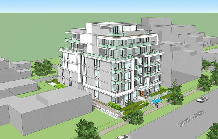 Artist's concept of new South Vancouver presale condos designed by GUD Group.