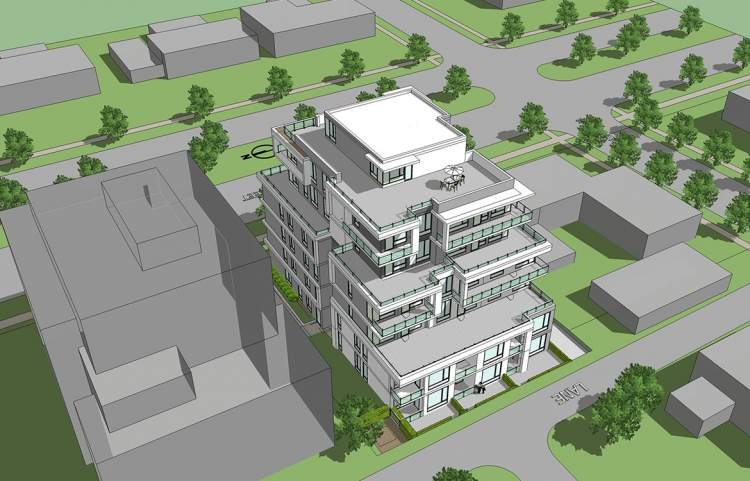 Laneway birdseye view of 6-storey Cambie Corridor market condo building at West 63rd Avenue.