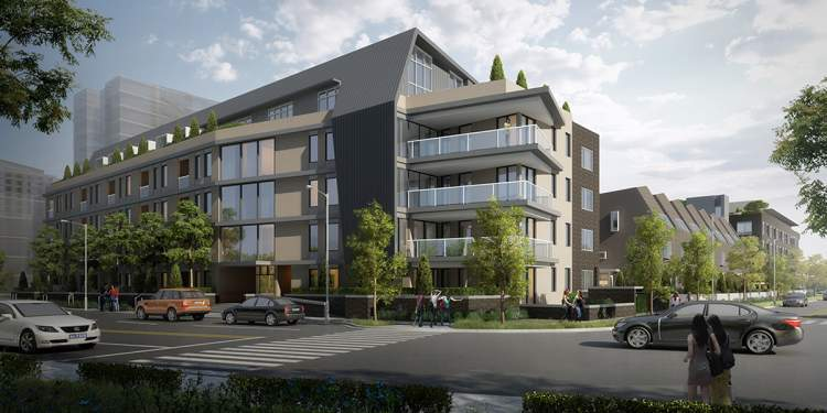 Artist rendering of the North Building of ERA Phase 1 from the street.