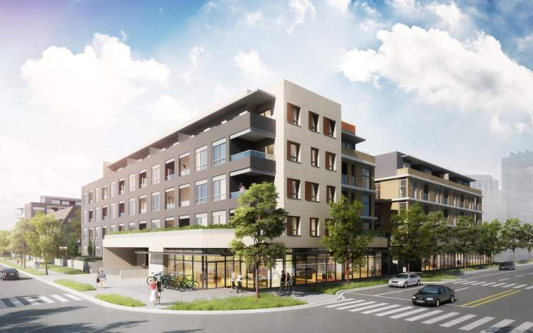 Artist rendering of the South Building of ERA Phase 1 as seen from the corner of Plaza Street and Dewdney Trunk Road.
