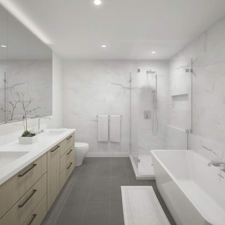 Luxurious bathrooms with contemporary, wood-veneer cabinetry with soft-close doors and under-cabinet lighting.