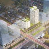 The proposal consists of a mixed-use development with a 14-storey market rental tower and a 27-storey market strata tower.