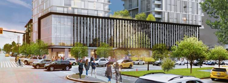 Artist's concept of 5740 Cambie at street level as seen from the intersection of 41st Avenue and Cambie.