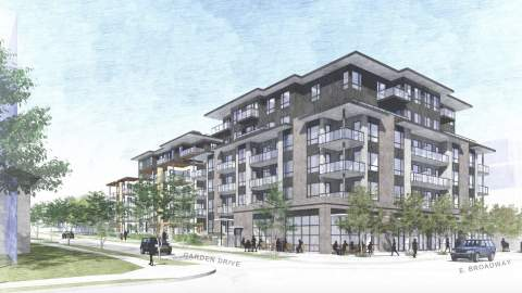 Artist's Concept Of Garden Drive Condominiums Viewed From The Southwest.